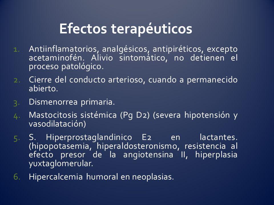 1.Antiinflamatorios, analgésicos, antipiréticos, excepto acetaminofén. Alivio sintomático, no detienen el proceso patológico. 2.Cierre del conducto ar
