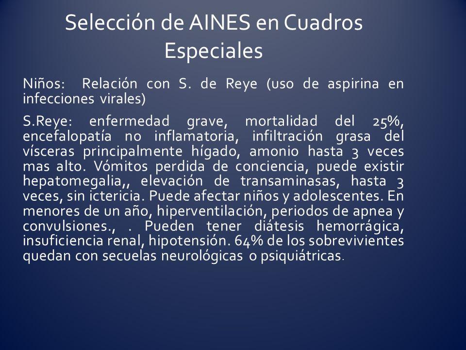 Niños: Relación con S. de Reye (uso de aspirina en infecciones virales) S.Reye: enfermedad grave, mortalidad del 25%, encefalopatía no inflamatoria, i