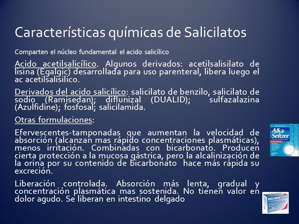 Comparten el núcleo fundamental el acido salicílico Acido acetilsalicílico. Algunos derivados: acetilsalisilato de lisina (Egalgic) desarrollada para