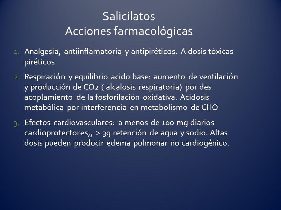 1.Analgesia, antiinflamatoria y antipiréticos. A dosis tóxicas piréticos 2.Respiración y equilibrio acido base: aumento de ventilación y producción de