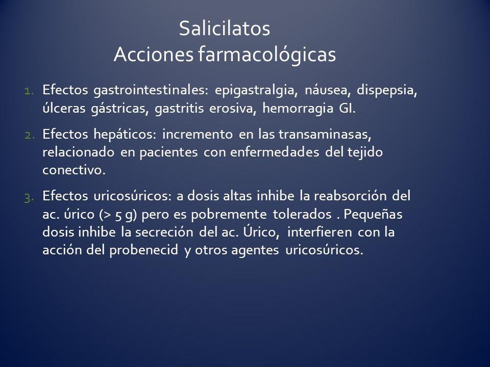 1.Efectos gastrointestinales: epigastralgia, náusea, dispepsia, úlceras gástricas, gastritis erosiva, hemorragia GI. 2.Efectos hepáticos: incremento e