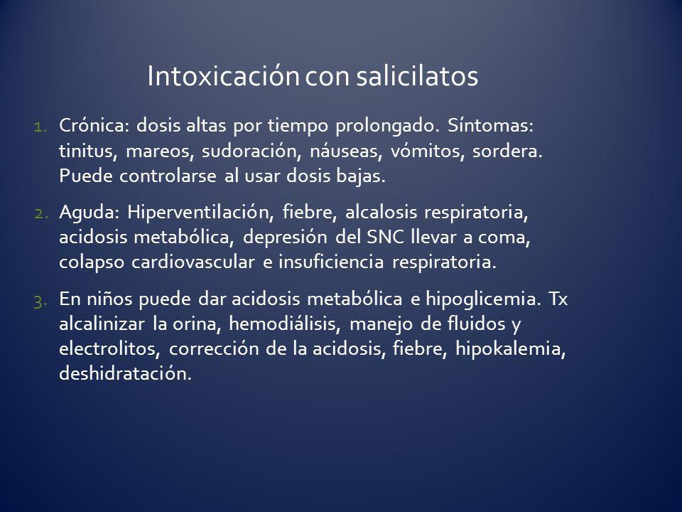 1.Crónica: dosis altas por tiempo prolongado. Síntomas: tinitus, mareos, sudoración, náuseas, vómitos, sordera. Puede controlarse al usar dosis bajas.