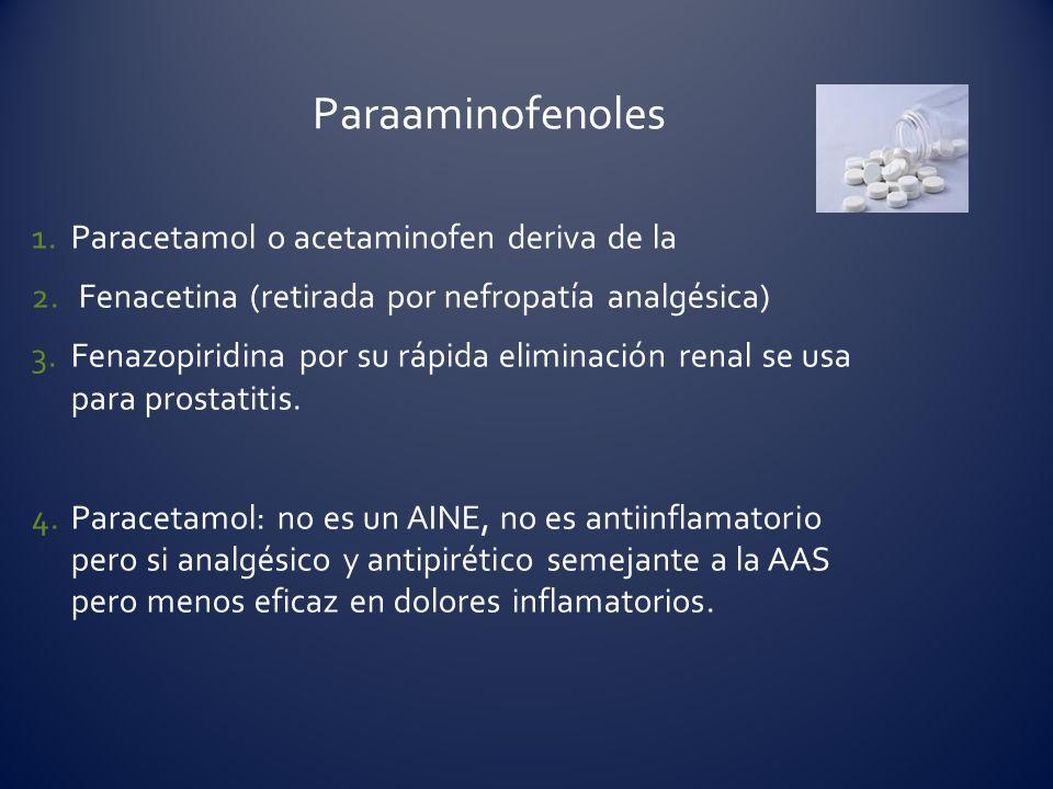 1.Paracetamol o acetaminofen deriva de la 2. Fenacetina (retirada por nefropatía analgésica) 3.Fenazopiridina por su rápida eliminación renal se usa p