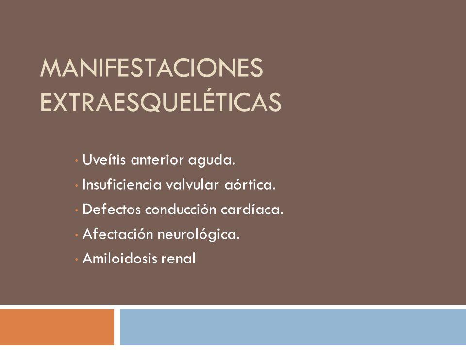 Indicadores de entesitis: sensibilidad en o Articulaciones sacroilíacas o Procesos espinosos o Talones o Cresta iliaca o Pared torácica anterior Limitación de la expansión torácica leve a moderada puede ser un hallazgo temprano Limitación de movilidad espinal