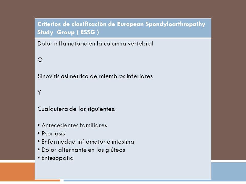 Radiográfias convencional Cambios tempranos en RX convencional Cuadratura de cuerpos vertebrales Sindesmofitos Espondilodiscitis Osificación de ligamentos Compromiso de articulaciones facetarias