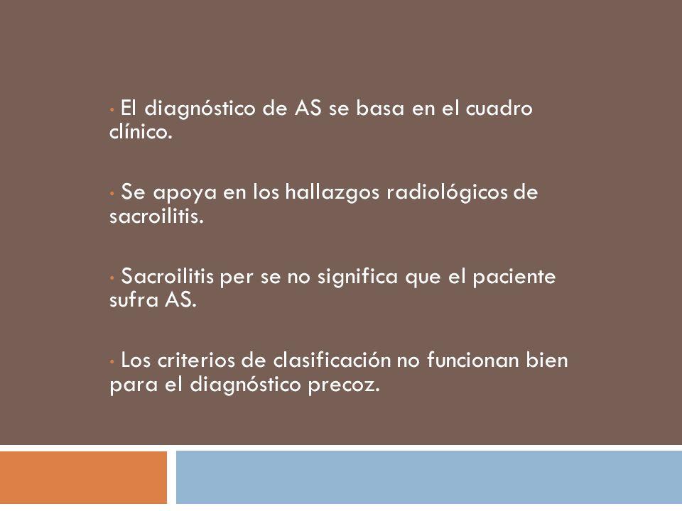 La sacroilitis se documenta en etapas tardías del curso de la enfermedad.