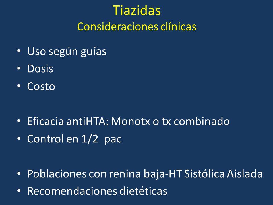 Tiazidas Consideraciones clínicas Uso según guías Dosis Costo Eficacia antiHTA: Monotx o tx combinado Control en 1/2 pac Poblaciones con renina baja-H