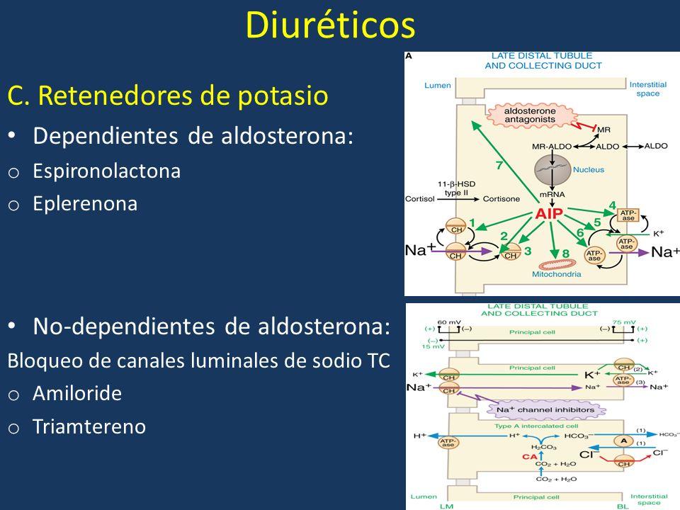 Diuréticos C. Retenedores de potasio Dependientes de aldosterona: o Espironolactona o Eplerenona No-dependientes de aldosterona: Bloqueo de canales lu