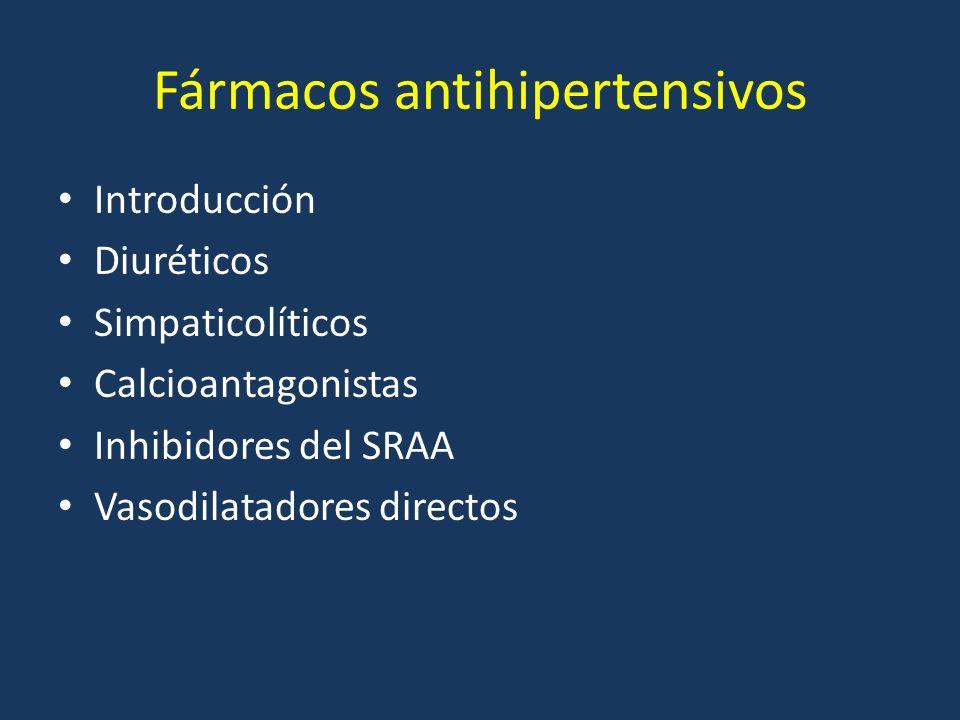 Introducción Diuréticos Simpaticolíticos Calcioantagonistas Inhibidores del SRAA Vasodilatadores directos Fármacos antihipertensivos