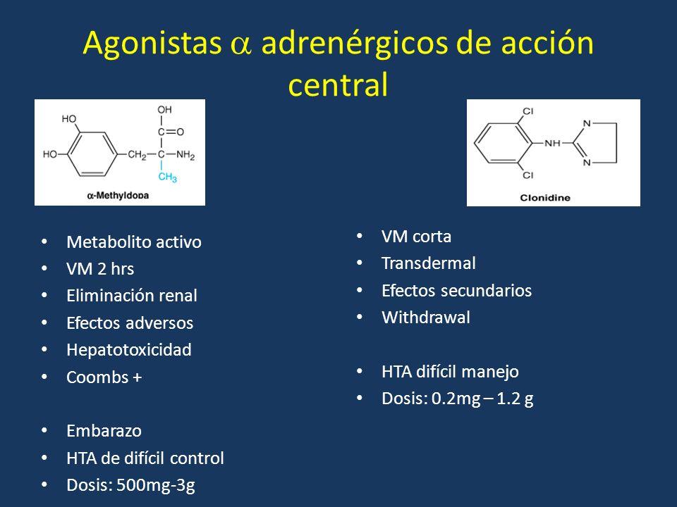 Agonistas adrenérgicos de acción central Metabolito activo VM 2 hrs Eliminación renal Efectos adversos Hepatotoxicidad Coombs + Embarazo HTA de difíci