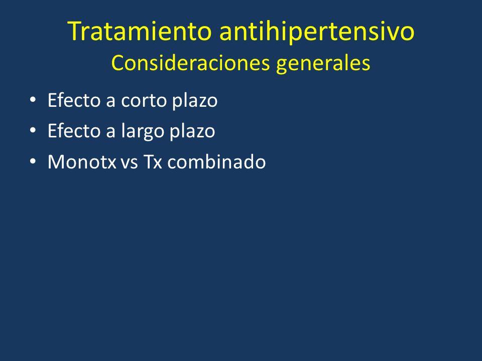 Tratamiento antihipertensivo Consideraciones generales Efecto a corto plazo Efecto a largo plazo Monotx vs Tx combinado