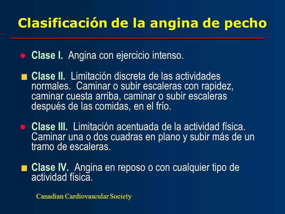 Clasificación de la angina de pecho Clase I. Angina con ejercicio intenso. Clase II. Limitación discreta de las actividades normales. Caminar o subir