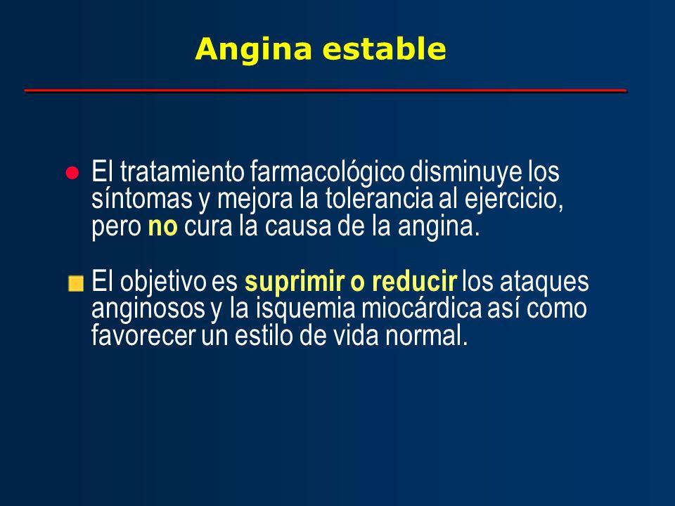 Angina estable El tratamiento farmacológico disminuye los síntomas y mejora la tolerancia al ejercicio, pero no cura la causa de la angina. El objetiv