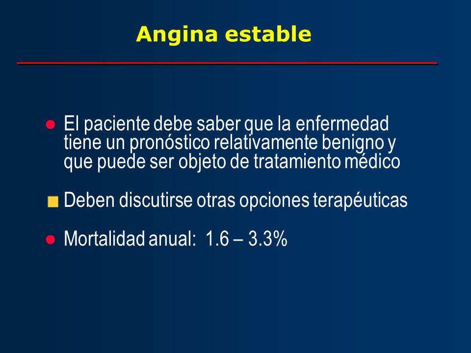 Angina estable El paciente debe saber que la enfermedad tiene un pronóstico relativamente benigno y que puede ser objeto de tratamiento médico Deben d
