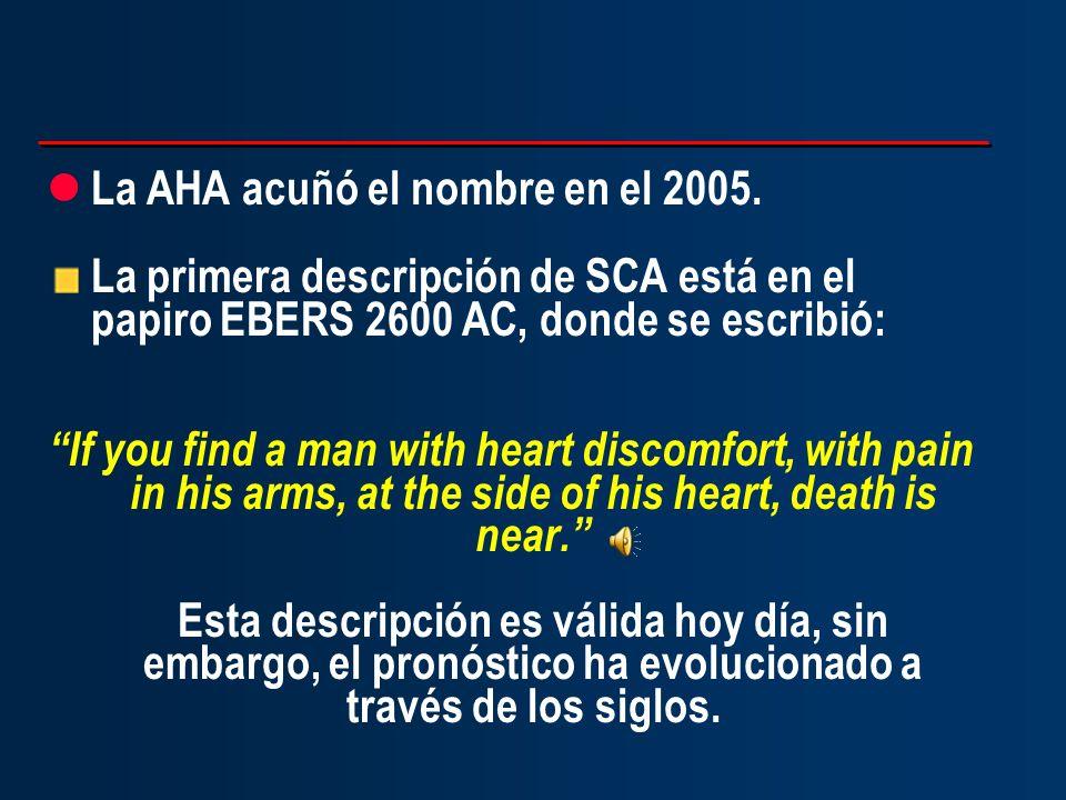 l La AHA acuñó el nombre en el 2005. La primera descripción de SCA está en el papiro EBERS 2600 AC, donde se escribió: If you find a man with heart di