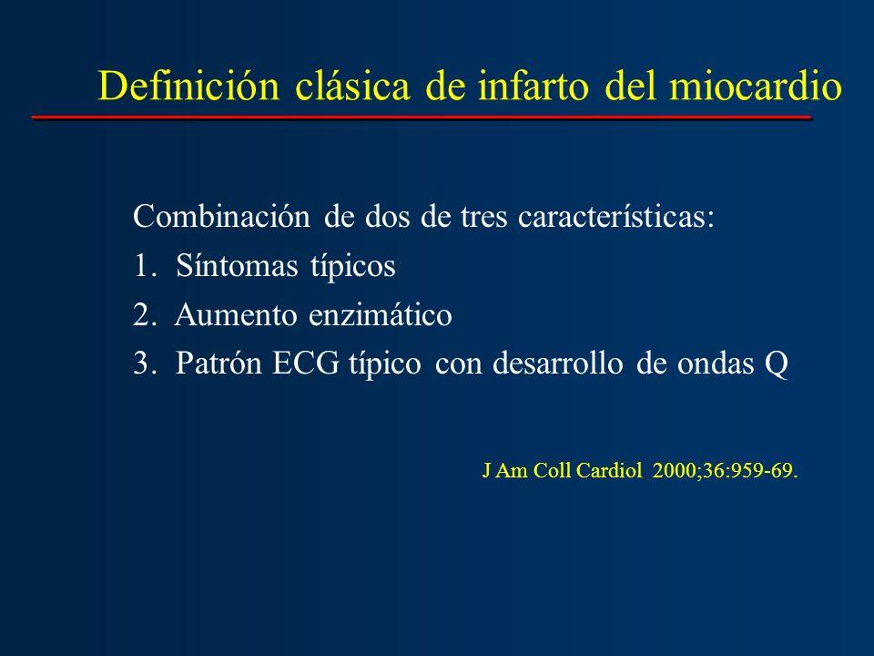 Definición clásica de infarto del miocardio Combinación de dos de tres características: 1. Síntomas típicos 2. Aumento enzimático 3. Patrón ECG típico