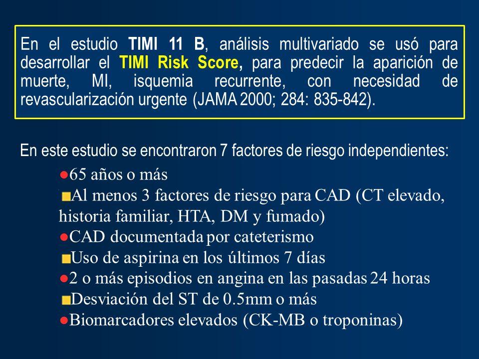 En este estudio se encontraron 7 factores de riesgo independientes: 65 años o más Al menos 3 factores de riesgo para CAD (CT elevado, historia familia