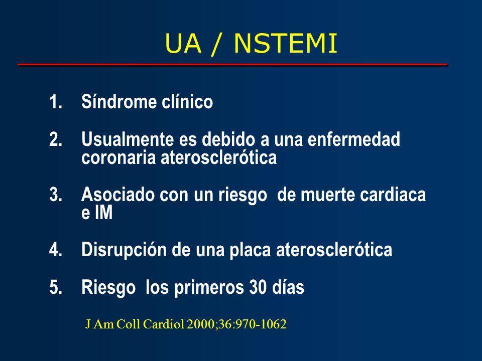 UA / NSTEMI 1.Síndrome clínico 2.Usualmente es debido a una enfermedad coronaria aterosclerótica 3.Asociado con un riesgo de muerte cardiaca e IM 4.Di