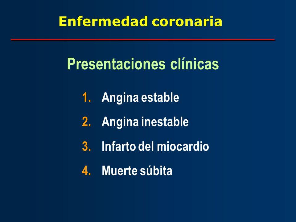 Enfermedad coronaria 1.Angina estable 2.Angina inestable 3.Infarto del miocardio 4.Muerte súbita Presentaciones clínicas