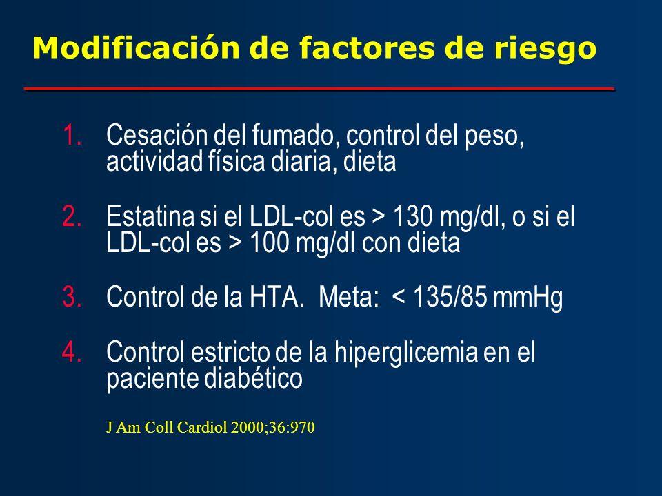 Modificación de factores de riesgo 1.Cesación del fumado, control del peso, actividad física diaria, dieta 2.Estatina si el LDL-col es > 130 mg/dl, o