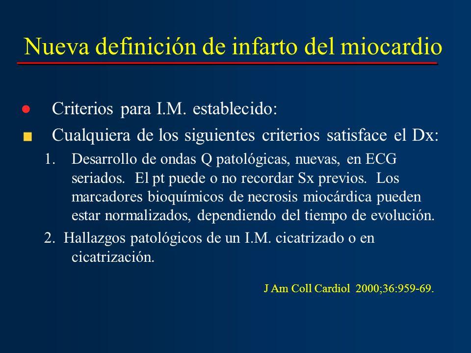 Nueva definición de infarto del miocardio Criterios para I.M. establecido: Cualquiera de los siguientes criterios satisface el Dx: 1.Desarrollo de ond