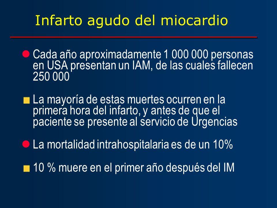 Infarto agudo del miocardio lCada año aproximadamente 1 000 000 personas en USA presentan un IAM, de las cuales fallecen 250 000 La mayoría de estas m