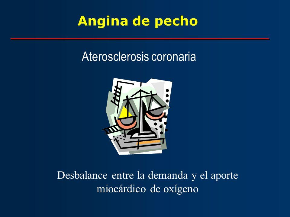 Angina de pecho Aterosclerosis coronaria Desbalance entre la demanda y el aporte miocárdico de oxígeno