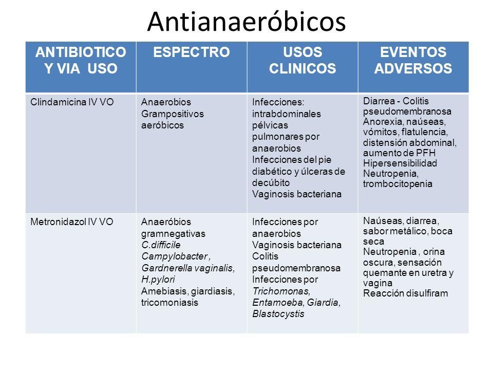 Antianaeróbicos ANTIBIOTICO Y VIA USO ESPECTROUSOS CLINICOS EVENTOS ADVERSOS Clindamicina IV VOAnaerobios Grampositivos aeróbicos Infecciones: intrabd
