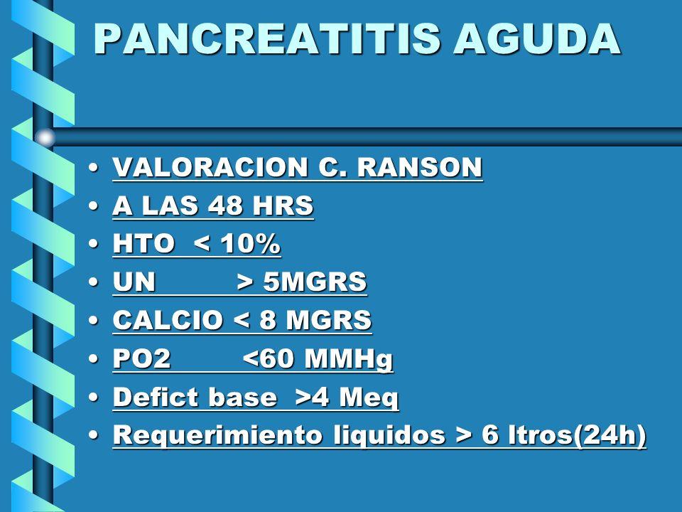 PANCREATITIS AGUDA VALORACION C. RANSONVALORACION C. RANSON A LAS 48 HRSA LAS 48 HRS HTO < 10%HTO < 10% UN > 5MGRSUN > 5MGRS CALCIO < 8 MGRSCALCIO < 8