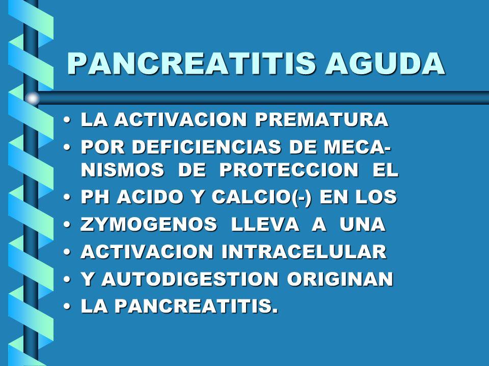 PANCREATITIS AGUDA LA ACTIVACION PREMATURALA ACTIVACION PREMATURA POR DEFICIENCIAS DE MECA- NISMOS DE PROTECCION ELPOR DEFICIENCIAS DE MECA- NISMOS DE