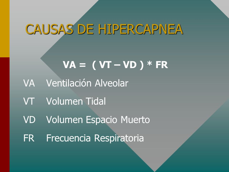 INSUFICIENCIA RESPIRATORIA HIPERCAPNICA O2 p CO2 V = 1 / pCO2