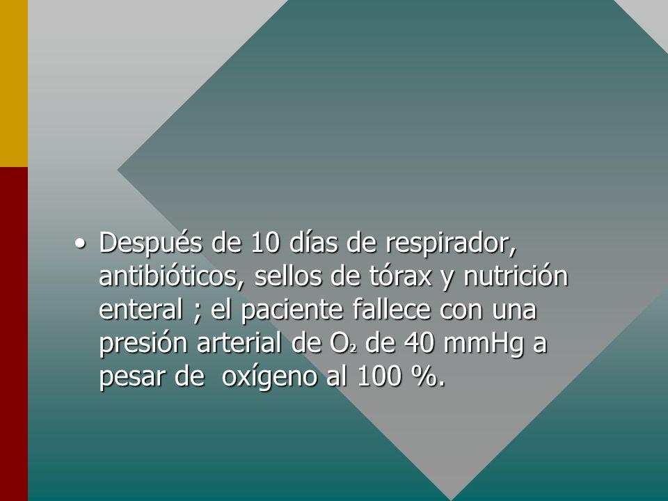 El respirador artificial se inicia a una frecuencia de 16 / min ; un volumen de aire corriente de 550 cc y una concentración de oxígeno de 40 %.El res