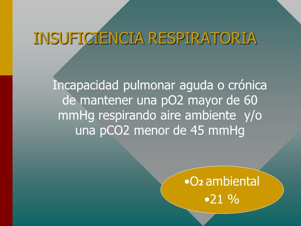 INSUFICIENCIA RESPIRATORIA Incapacidad pulmonar aguda o crónica de mantener una pO2 mayor de 60 mmHg respirando aire ambiente y/o una pCO2 menor de 45 mmHg O 2 ambiental 21 %