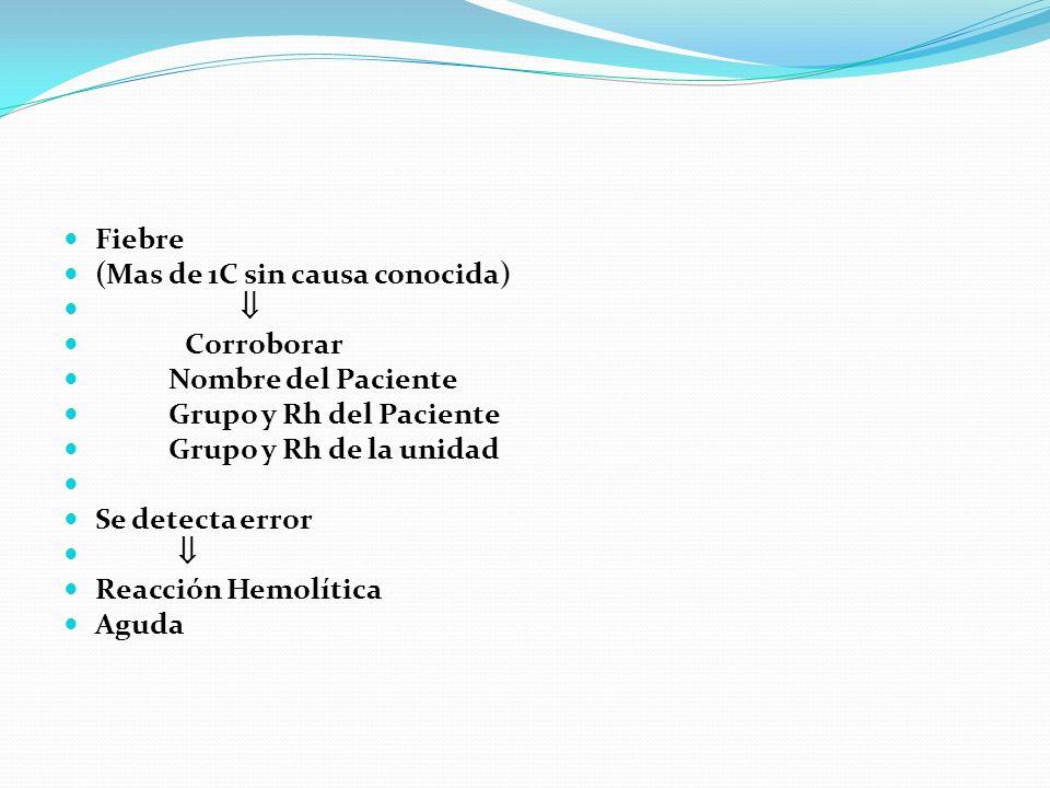 Fiebre (Mas de 1C sin causa conocida) Corroborar Nombre del Paciente Grupo y Rh del Paciente Grupo y Rh de la unidad Se detecta error Reacción Hemolít