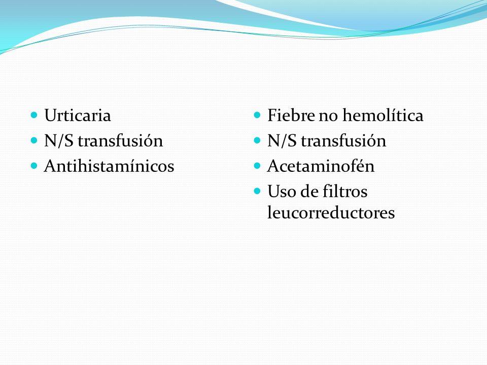 Urticaria N/S transfusión Antihistamínicos Fiebre no hemolítica N/S transfusión Acetaminofén Uso de filtros leucorreductores