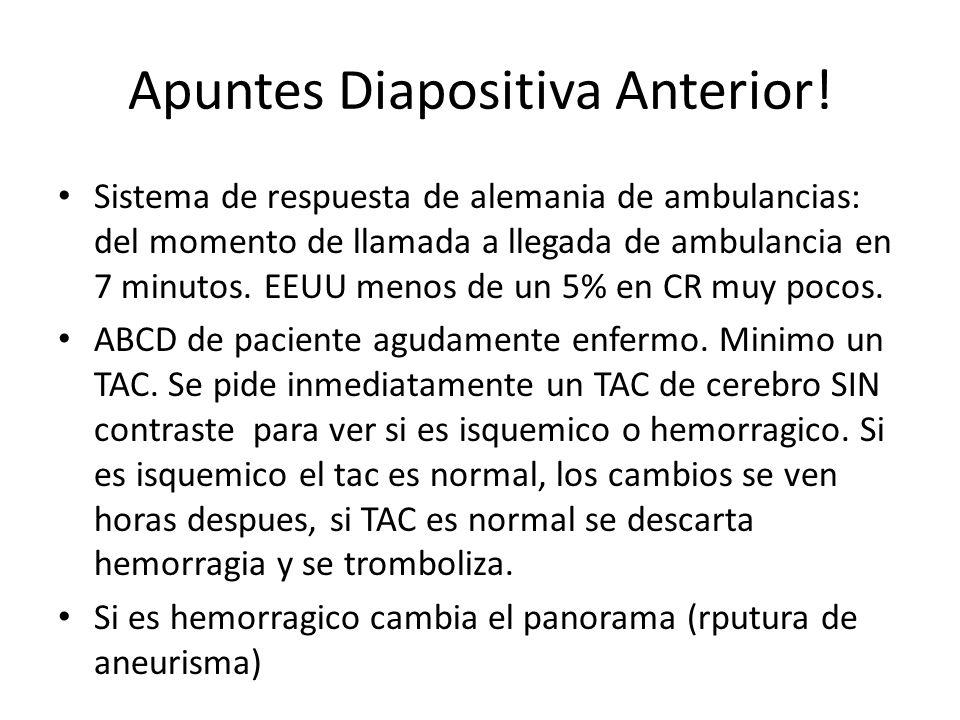 Apuntes Diapositiva Anterior! Sistema de respuesta de alemania de ambulancias: del momento de llamada a llegada de ambulancia en 7 minutos. EEUU menos