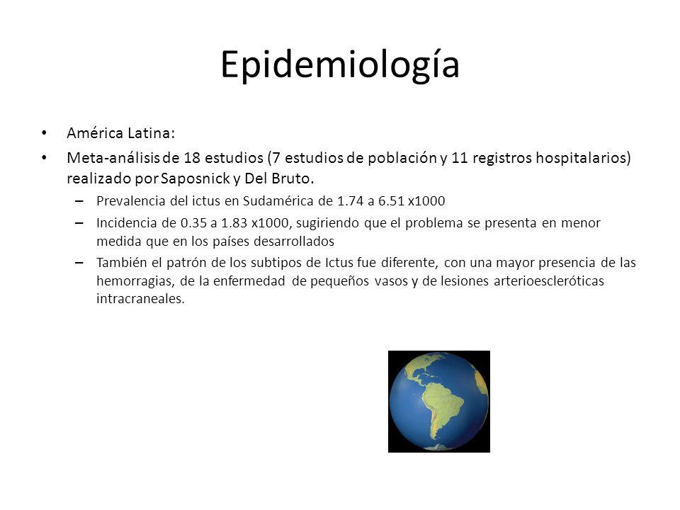 Epidemiología América Latina: Meta-análisis de 18 estudios (7 estudios de población y 11 registros hospitalarios) realizado por Saposnick y Del Bruto.