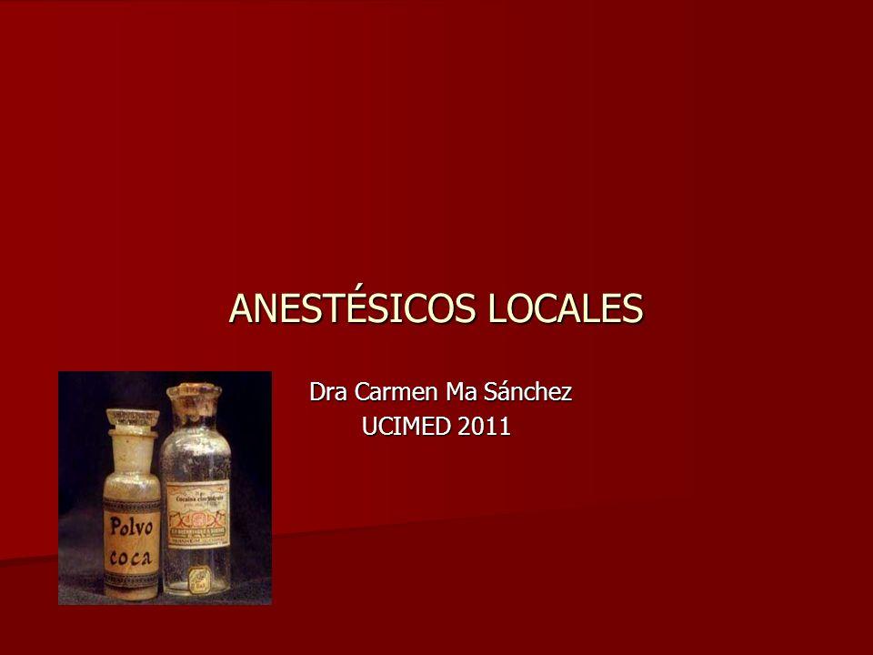 ANESTÉSICOS LOCALES Dra Carmen Ma Sánchez Dra Carmen Ma Sánchez UCIMED 2011