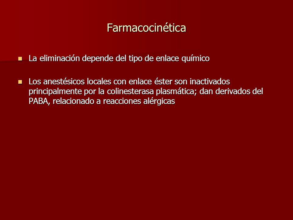 Farmacocinética La eliminación depende del tipo de enlace químico La eliminación depende del tipo de enlace químico Los anestésicos locales con enlace