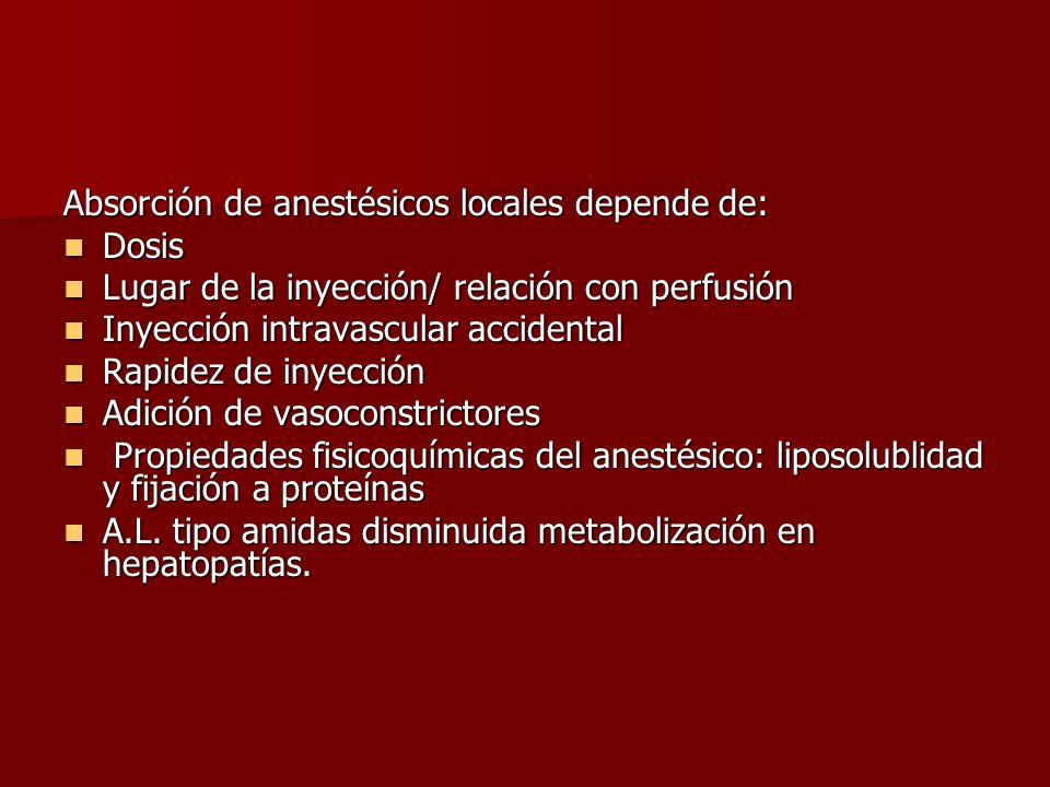 Absorción de anestésicos locales depende de: Dosis Dosis Lugar de la inyección/ relación con perfusión Lugar de la inyección/ relación con perfusión I