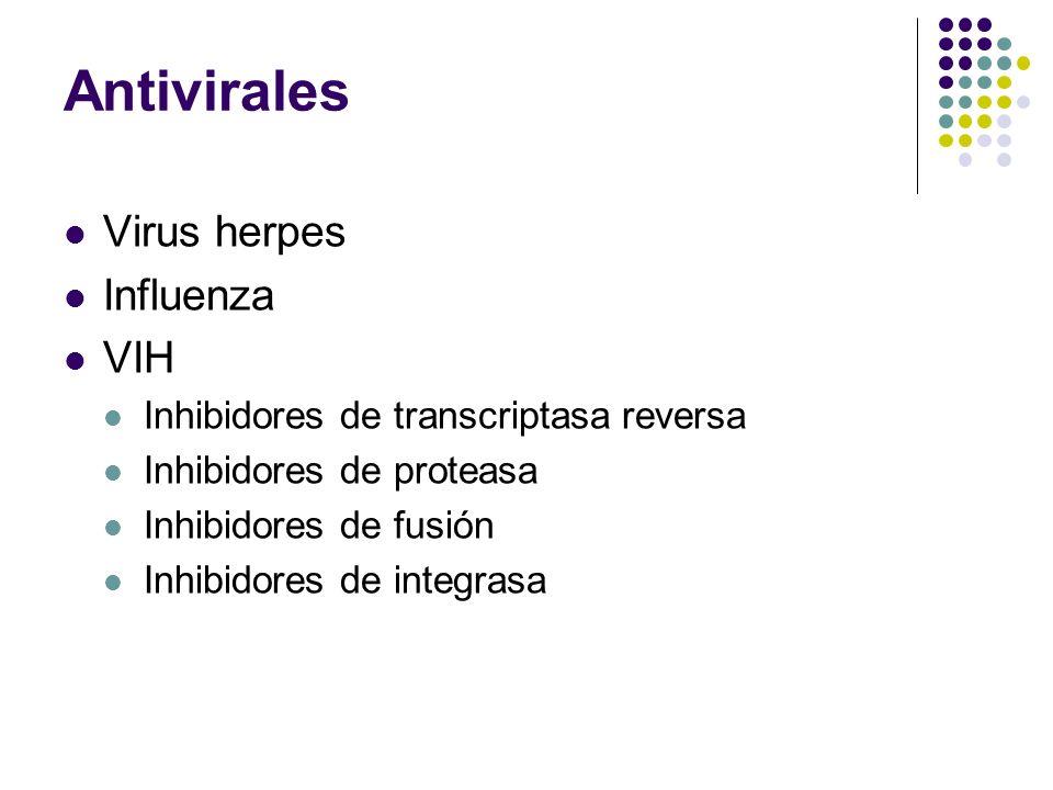 Antivirales Virus herpes Influenza VIH Inhibidores de transcriptasa reversa Inhibidores de proteasa Inhibidores de fusión Inhibidores de integrasa