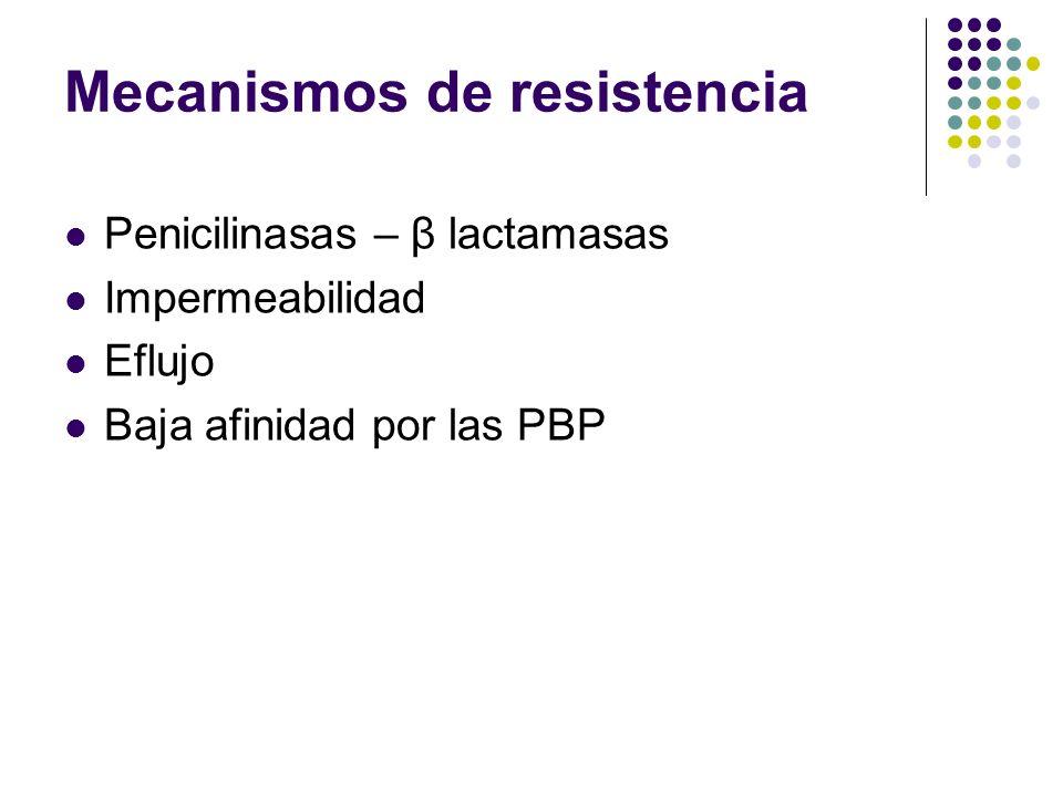 Mecanismos de resistencia Penicilinasas – β lactamasas Impermeabilidad Eflujo Baja afinidad por las PBP