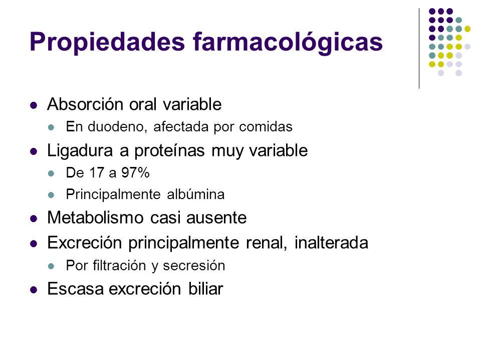 Propiedades farmacológicas Absorción oral variable En duodeno, afectada por comidas Ligadura a proteínas muy variable De 17 a 97% Principalmente albúm