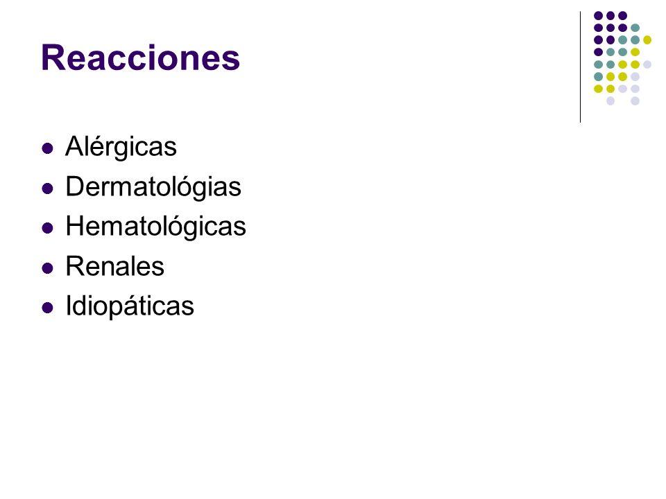 Reacciones Alérgicas Dermatológias Hematológicas Renales Idiopáticas