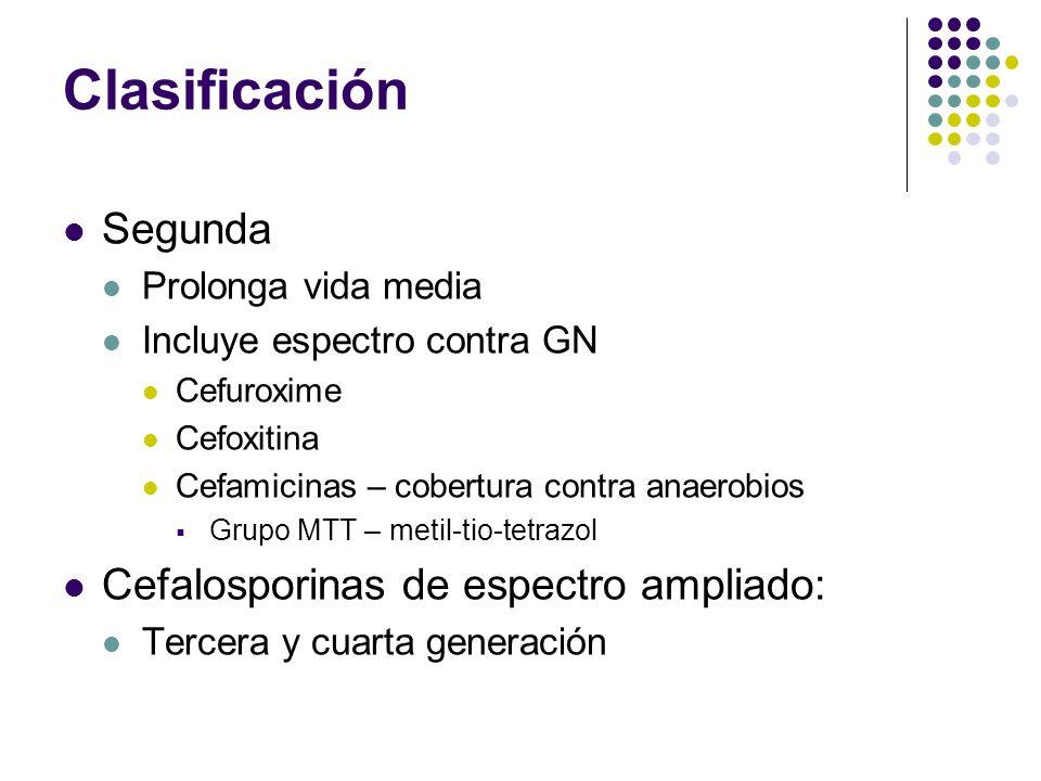 Clasificación Segunda Prolonga vida media Incluye espectro contra GN Cefuroxime Cefoxitina Cefamicinas – cobertura contra anaerobios Grupo MTT – metil
