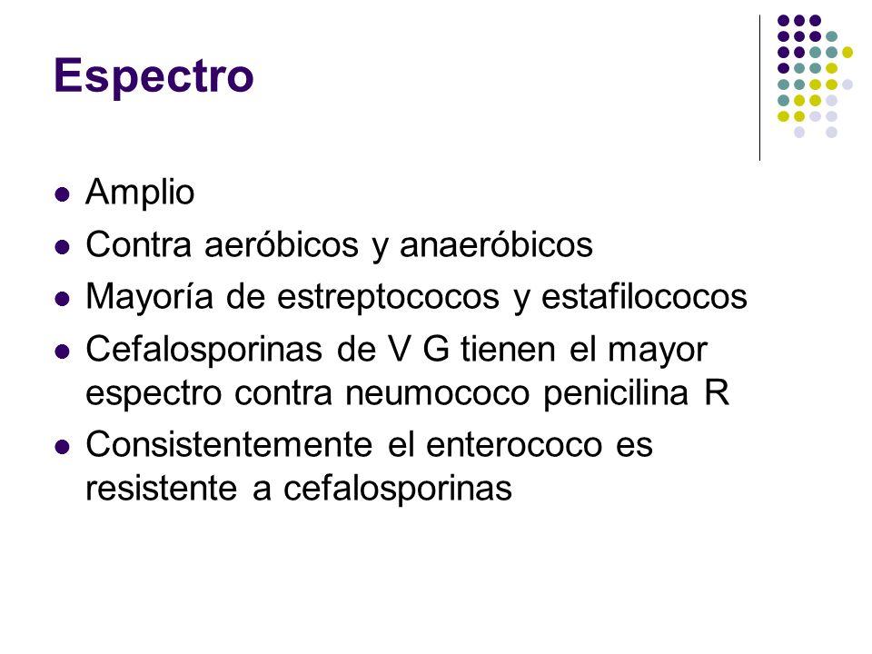 Espectro Amplio Contra aeróbicos y anaeróbicos Mayoría de estreptococos y estafilococos Cefalosporinas de V G tienen el mayor espectro contra neumococ