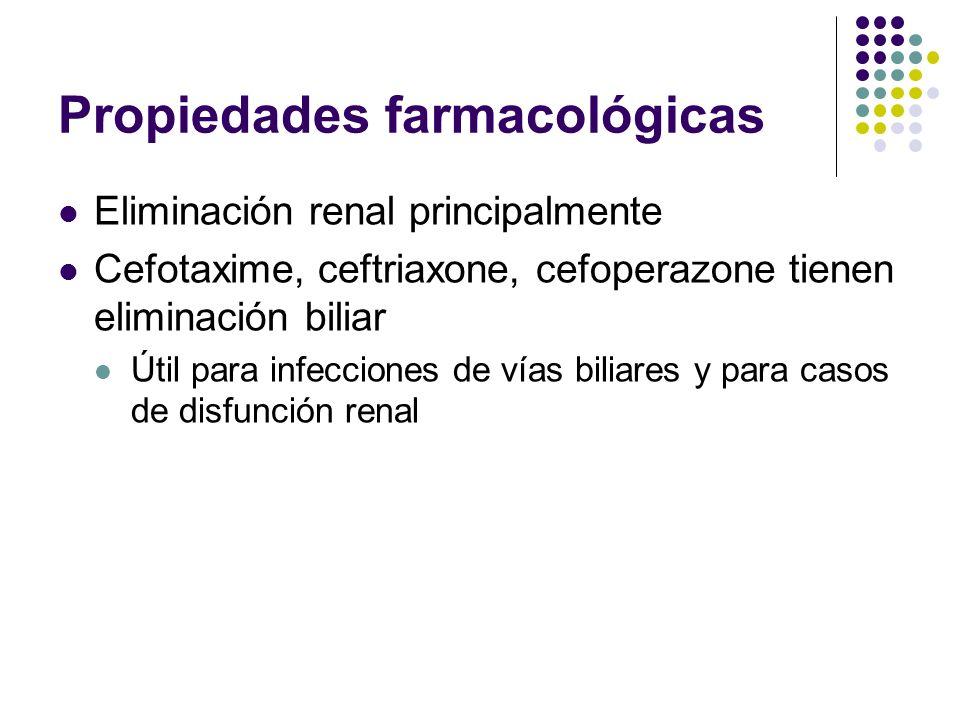 Eliminación renal principalmente Cefotaxime, ceftriaxone, cefoperazone tienen eliminación biliar Útil para infecciones de vías biliares y para casos d