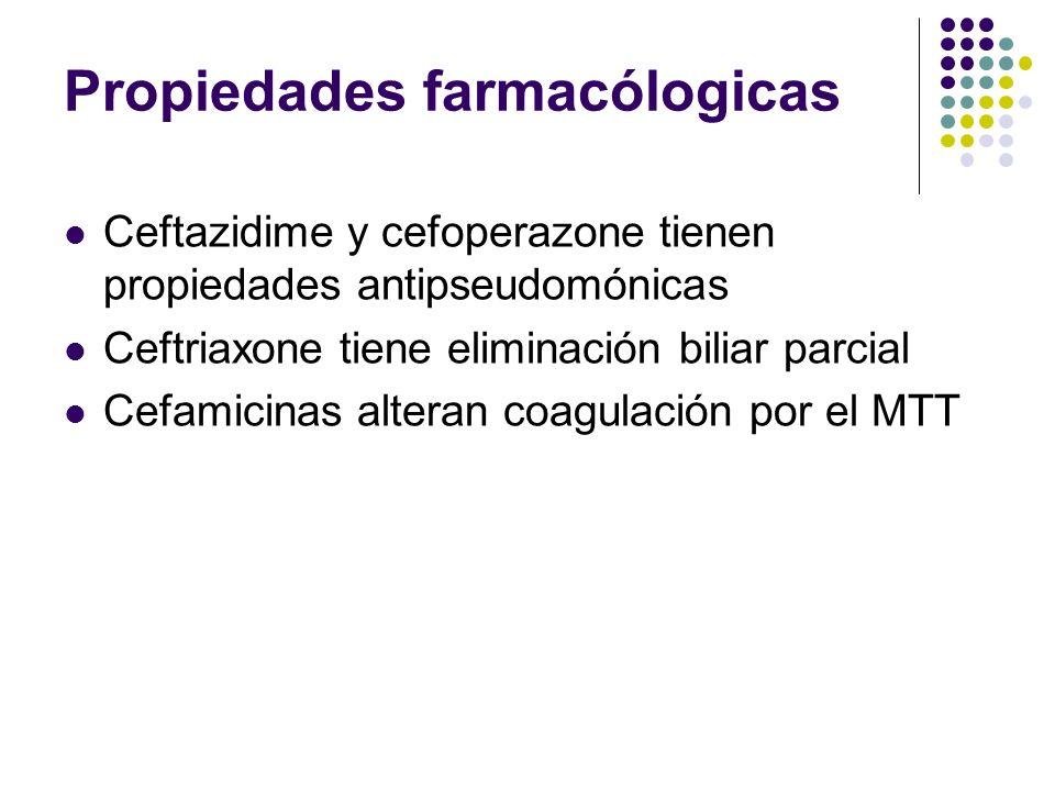 Propiedades farmacólogicas Ceftazidime y cefoperazone tienen propiedades antipseudomónicas Ceftriaxone tiene eliminación biliar parcial Cefamicinas al
