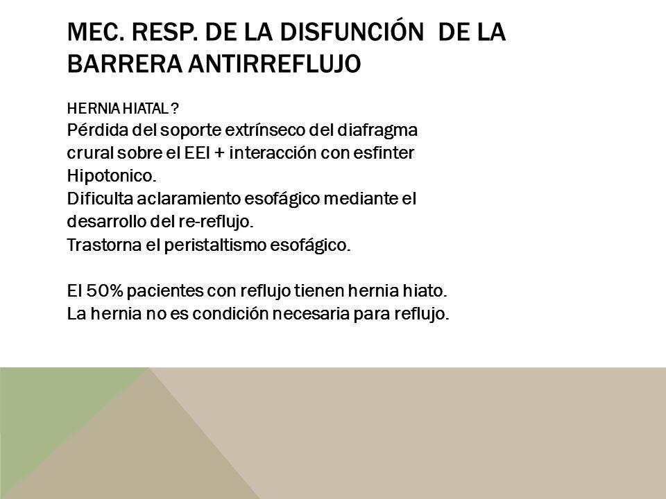 MEC. RESP. DE LA DISFUNCIÓN DE LA BARRERA ANTIRREFLUJO HERNIA HIATAL ? Pérdida del soporte extrínseco del diafragma crural sobre el EEI + interacción