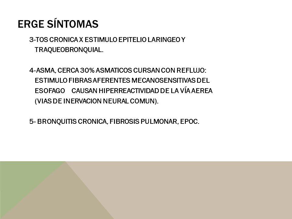 ERGE SÍNTOMAS 3-TOS CRONICA X ESTIMULO EPITELIO LARINGEO Y TRAQUEOBRONQUIAL. 4-ASMA, CERCA 30% ASMATICOS CURSAN CON REFLUJO: ESTIMULO FIBRAS AFERENTES